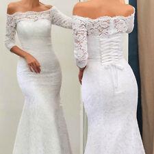 Sweep Train Lace Wedding Dress Mermaid Portrait 3/4 Sleeve Bridal Gown Custom