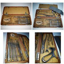Antique Surgical Medical 15 Doc. Set Kit Bone Saw Amputation Alligator Scalpel