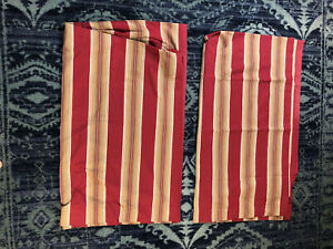 2 Pottery Barn Curtains Panels Drape 50 x 96 Striped Lined Regal Red Gold