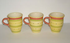 Pfaltzgraff Pistoulet Red/Salmon Band Mugs set of 3 Made in Mexico