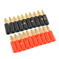 NEW 20pcs Gold Plated Audio Speaker Wire Cable Banana Plug Connector Adapter 4mm