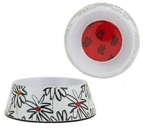 Top Paw® White & Black Daisy Melamine Dog Bowl - (1) 24 oz Food or Water Dish