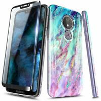 For Motorola Moto g6 Play/Forge Case Ultra Slim Soft TPU Cover + Tempered Glass