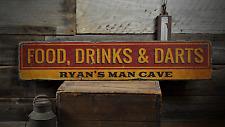 Food Drinks & Darts, Custom Man Cave - Rustic Distressed Wood Sign
