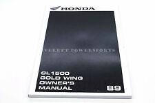 New Genuine Honda Owners Manual 1989 GL1500 Goldwing OEM Operators Book    #K99