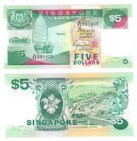 UNC SINGAPORE $5 Dollars Ship Series Banknote (1989) P-19 Paper Money