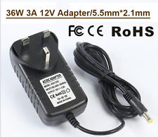 36W 3A AC/DC12V uk 3 pin plug power supply adaptateur transformateur led bande/cctv
