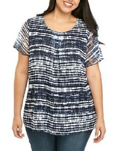 NEW KIM ROGERS Short Sleeve Printed Inverted Pleat Top HARBOR NAVY COLOR