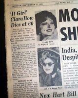 CLARA BOW Hollywood Actress Roaring Twenties Sex Symbol DEATH 1965 Old Newspaper