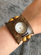 Wooden Beaded Square Boho Handmade Tribal Aztec Stretchy Working Watch Bracelet