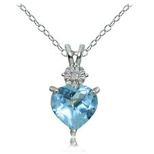 Sterling Silver Blue Topaz and Diamond Accent Heart Necklace