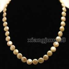 Big 9-10mm Pink Coin Round High quality Natural FW Pearl 17'' Necklace-nec6308