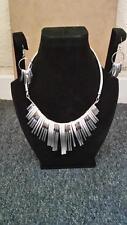 Fancy Wedding Party Bridal Jewelry Silver Metal  Necklace Earrings Sets