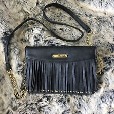 BETSEY JOHNSON Black and Gold Chain Leather Fringe Crossover Purse Bag