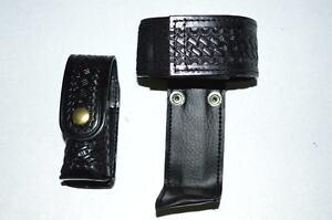 Law Pro - Leather Holder for Police: Radio, and Spray Holder.  Basket weave desi