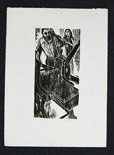 "Frank Martin  The Plate Printer 1967  Woodcut Print 15.75"" x 11.75"""