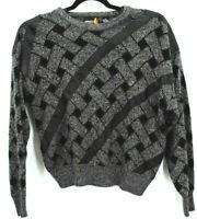 VTG 80s 90s Sasson Mens Pullover Sweater Gray Crew Neck Geometric XL Grandpa
