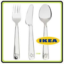 IKEA FABLER STAINLESS STEEL CHILDRENS KIDS FORK KNIFE SPOON 3 PIECE CUTLERY SET