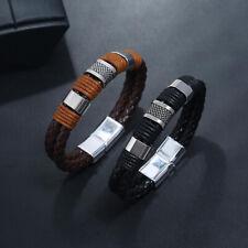 Fashion Mens PU Weaving Leather Bracelet Surfer Wrap Cuff Punk Bangle Wristband