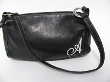 ROOTS CANADA BLACK LEATHER EMBROIDERED 'A' MONOGRAM HAND BAG SHOULDER PURSE TOTE