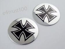 2X Aluminim Iron Cross Emblem Decal Fuel Tank Fairing Stickers Motorcycle Custom