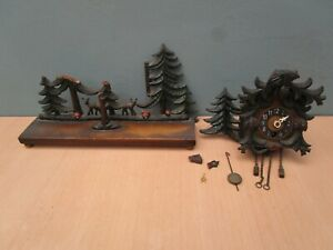 VINTAGE MINIATURE WOODEN CLOCK WITH PINE TREES - BLACK FOREST GERMAN???