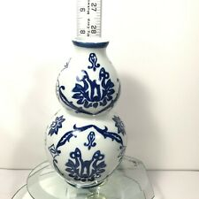 "The Bombay Company Vase Blue and White Gourd Floral Pattern Ceramic 3.5"" x 6"" C6"