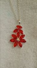 Artisan's 18 Cts Red Ruby Flower Necklace Sterling silver $84.00 New