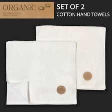 SET OF 2 New ORGANIC Cotton Textured Hand Towel White MADE IN TURKEY