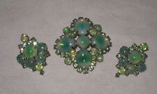 "Vintage Green Opalescent Bi-Color "" Sabrina Glass "" Cabochons Pin & Earrings"
