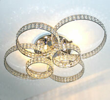 XXL Deckenleuchte Kristall Led Kronleuchter Deckenlampe Ringe 88x66cm Licht 6xG9
