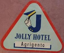 ETICHETTA JOLLY HOTEL AGRIGENTO SICILIA SICILY BAULE VALIGIA LUGGAGE LABEL