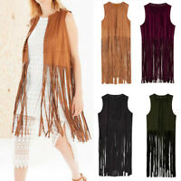 Women Autumn Streetwear Velour Suede Ethnic Sleeveless Tassels Fringed Cardigan