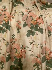 More details for vintage fabric curtain pair panels cotton floral yellow pink green