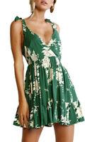 abito stampa floreale svasato vestito party donna schiena nuda scollo V vestito