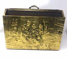 Embossed Brass & Wood Fireplace Box Magazine LP Holder Tavern Supper Scene
