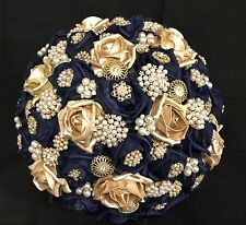 Navy Blue And Gold Roses Brooches Brides Flower Bouquet, Indian, Asian, Weddings