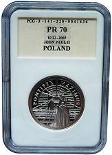John Paul II Pontifex maximus 10 zl Silver Polish 2002 coin PROOF Graded PR70