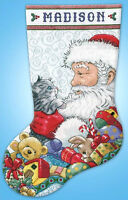 Cross Stitch Kit ~ Design Works Santa and Kitten Christmas Stocking #DW5973