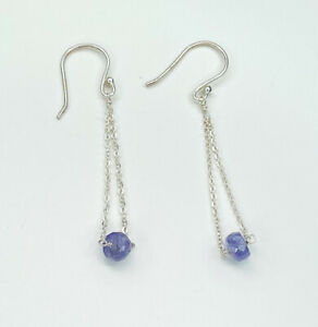 Tanzanite Gemstone Bead Earrings, Gems Tv/ Gemporia, With Cert
