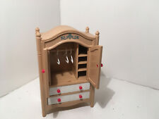 Vintage Tomy Dollhouse Furniture Armoire w/ 3 Hangers #32