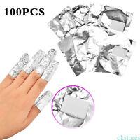 100pcs Nail Art Soak Off Acrylic Gel Aluminium Foil Polish Nail Wraps Remover
