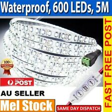New Waterproof Cool White 600 LEDs DC 12V 3528 SMD 5M LED Strip Lights+ Dimmer