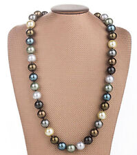 Huge 12mm Genuine Multicolor Round South Sea Shell Pearl Necklace 18'' JN1782