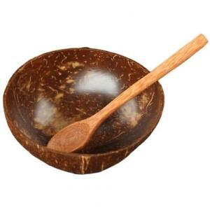 Natural Coconut Bowl Fruit Decoration Fruit Salad Noodle Wooden Rice Bowl Craft