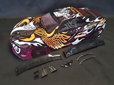 "RC CAR KAROSSERIE 1:10 ""NISSAN SKYLINE R34 GTR SHARKY"" ORANGE WEISS # JLR37"