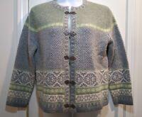 Vintage Susan Bristol Womens Size L Wool Sweater Cardigan Metal Clasp