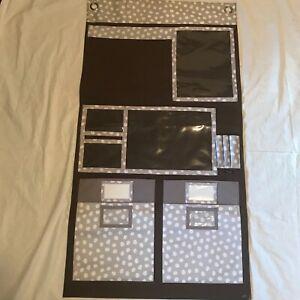 EUC Thirty One Hang Up Home Organizer With Pockets Brown Grey White Polka Dots