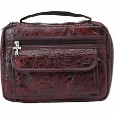 Bible Cover Burgundy Alligator Genuine Leather Large Holy Book Case Cross ZIPPER