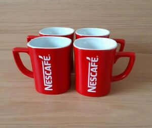 4 Nescafe Red & White Square Shaped Ceramic Coffee/Tea Mugs - Collectable